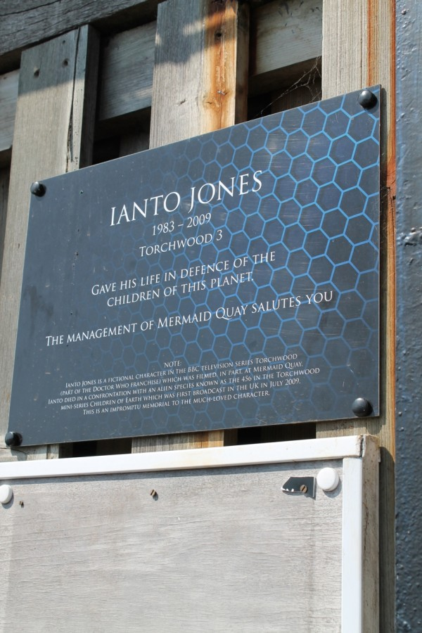 The Ianto Jones memorial wall, Cardiff Bay.