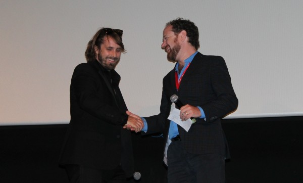 "Colin Geddes introduces director Alexandre Aja at the world premiere of ""Horns"" (Vanguard 2013)"