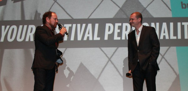 "Colin Geddes and director Mike Flanagan at the world premiere of ""Oculus"" (Midnight Madness 2013)"