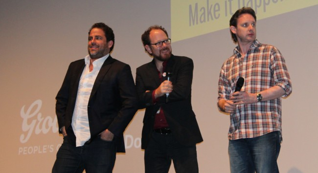 "Producer Brett Ratner, programmer Colin Geddes and director Mark Hartley at the midnight screening of ""Electric Boogaloo."""