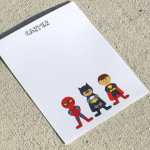 Super Hero Personalized Stationery - Notecards or Notepads