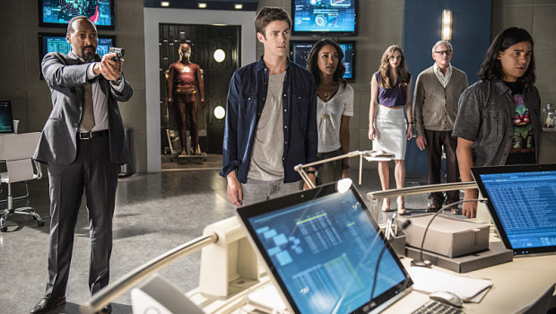 "The Flash -- ""The Man Who Saved Central City"" -- Image FLA201b_0388b -- Pictured (L-R): Jesse L. Martin as Detective Joe West, Grant Gustin as Barry Allen, Candice Patton as Iris West, Danielle Panabaker as Caitlin Snow, Victor Garber as Professor Stein and Carlos Valdes as Cisco Ramon -- Photo: Cate Cameron /The CW -- © 2015 The CW Network, LLC. All rights reserved"