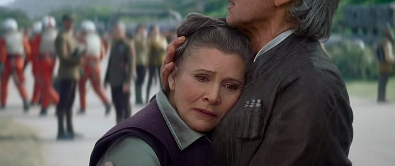 Han and Leia in Star Wars Episode VII: The Force Awakens